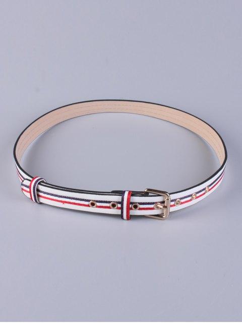 womens Multicolor Stripy Pin Buckle Belt - WHITE  Mobile