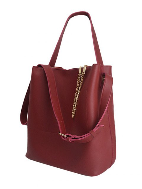 shop Concise Chains PU Leather Shoulder Bag - RED  Mobile