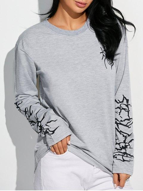 womens Crew Neck Graphic Sleeve Sweatshirt - LIGHT GRAY M Mobile