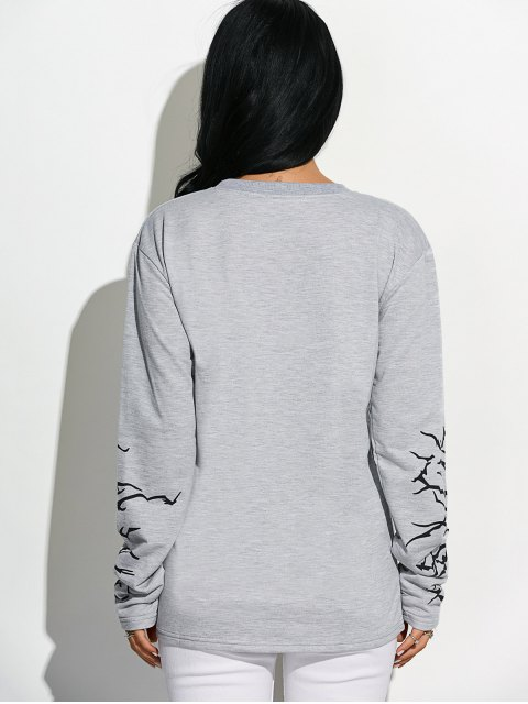 womens Crew Neck Graphic Sleeve Sweatshirt - LIGHT GRAY M Mobile