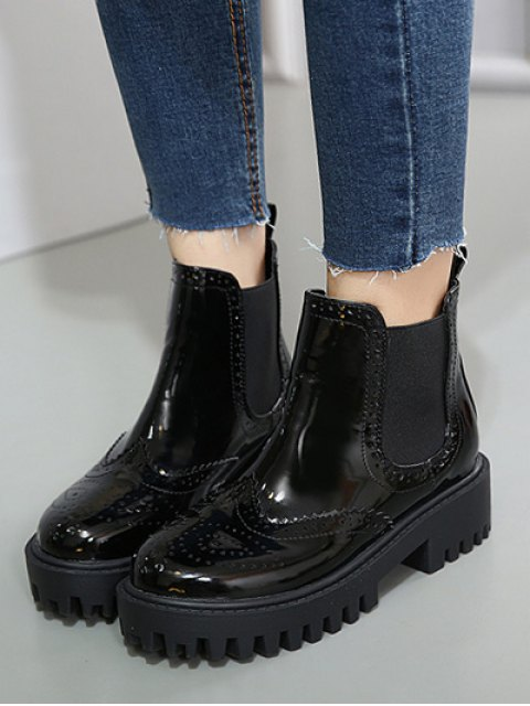 trendy Engraving Elastic Band Platform Ankle Boots - BLACK 38 Mobile