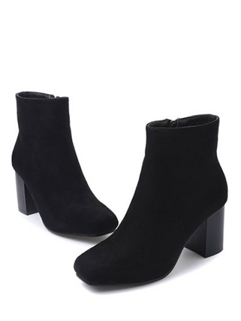 lady Square Toe Chunky Heel Zipper Ankle Boots - BLACK 38 Mobile