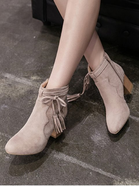 best Tassels Zipper Chunky Heel Ankle Boots - CAMEL 39 Mobile