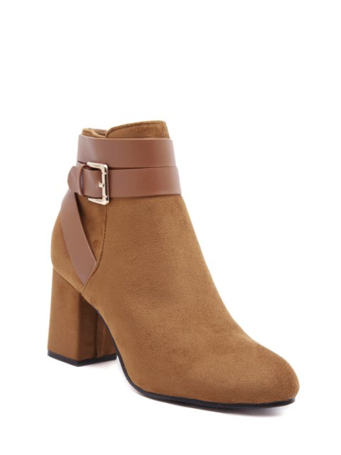 shops Buckle Chunky Heel Cross Straps Ankle Boots - BROWN 37 Mobile
