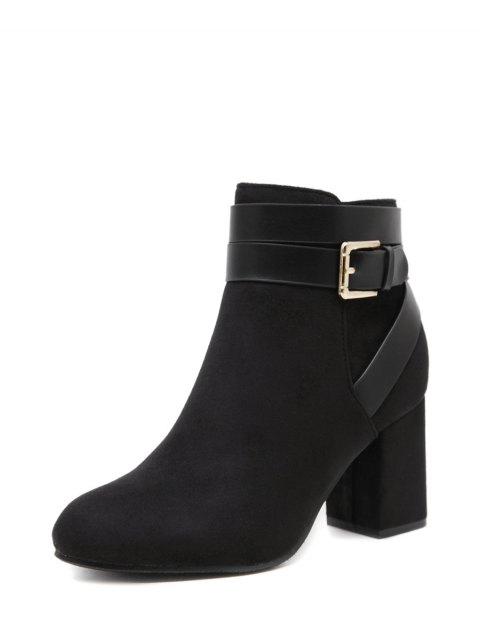 trendy Buckle Chunky Heel Cross Straps Ankle Boots - BLACK 39 Mobile