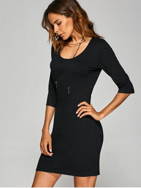 lady Scoop Neck 3/4 Sleeve Bodycon Dress - BLACK M Mobile
