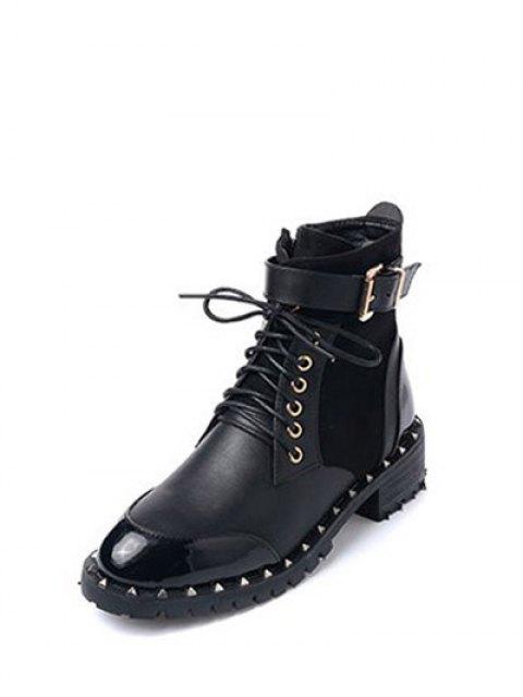 unique Tie Up Splicing Rivets Ankle Boots - BLACK 37 Mobile