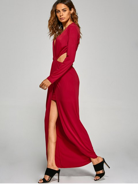 trendy Plunging Neck Cut Out High Slit Maxi Prom Dress - WINE RED XL Mobile