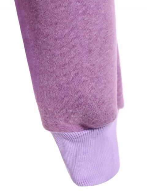 hot Color Block Long Sleeve Pullover Hoodie - PURPLE 2XL Mobile
