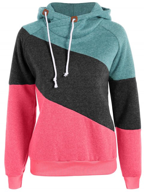 outfits Color Block Long Sleeve Pullover Hoodie - GREEN M Mobile