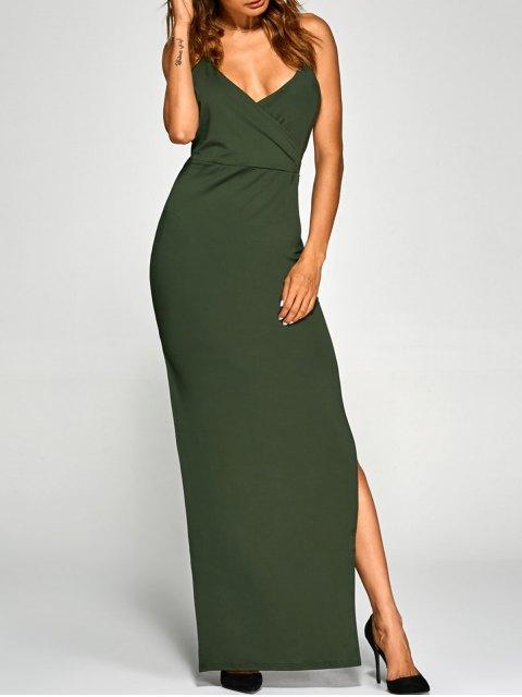unique Backless High Split Surplice Maxi Club Dress - ARMY GREEN XL Mobile