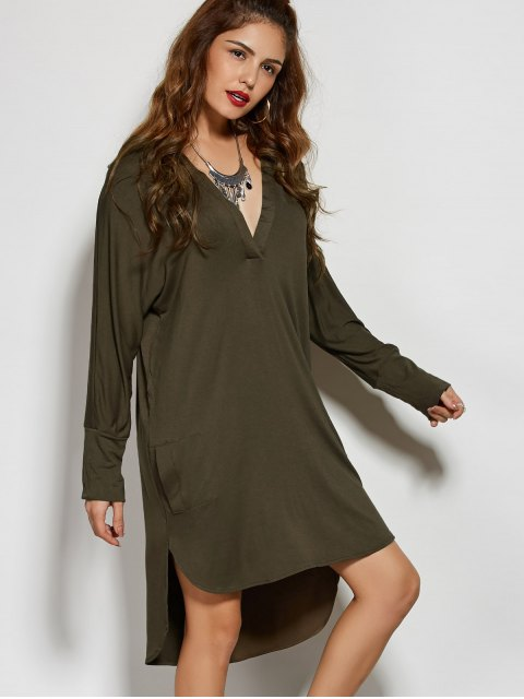 unique High Low Plunging Neck Dress - ARMY GREEN S Mobile