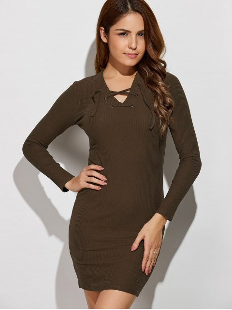 fancy Lace Up V Neck Sweater Dress - ARMY GREEN M Mobile
