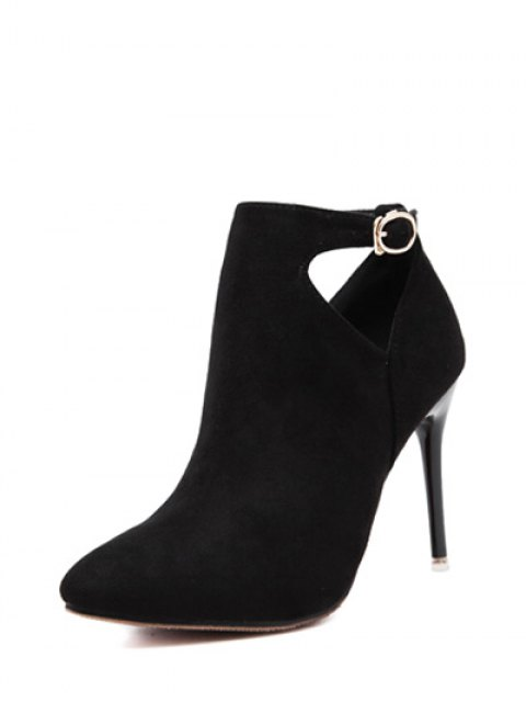 women's Hollow Out Flock Stiletto Heel Ankle Boots - BLACK 37 Mobile