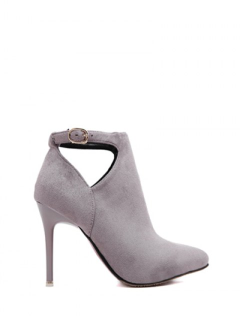 best Hollow Out Flock Stiletto Heel Ankle Boots -   Mobile