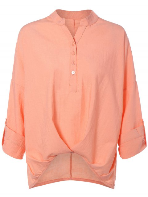 best High Low Chiffon Blouse - NUDE PINK L Mobile