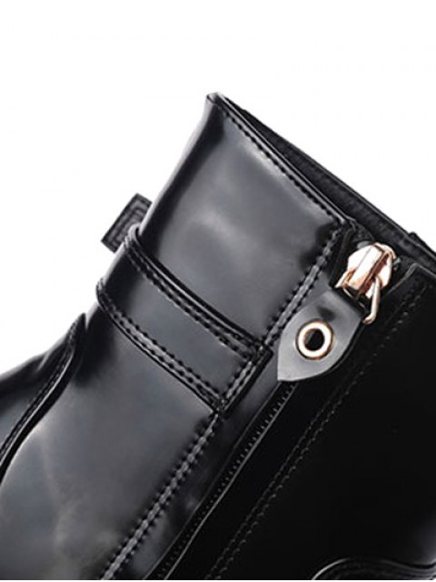 outfit Tie Up Buckle Chunky Heel Short Boots - BLACK 38 Mobile