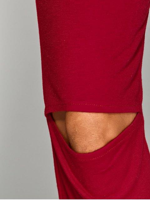 unique Off Shoulder Long Sleeve Cut Out Jumpsuit - RED XL Mobile