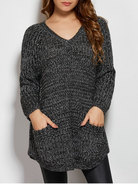 outfits Pockets V Neck Sweater - DEEP GRAY ONE SIZE Mobile