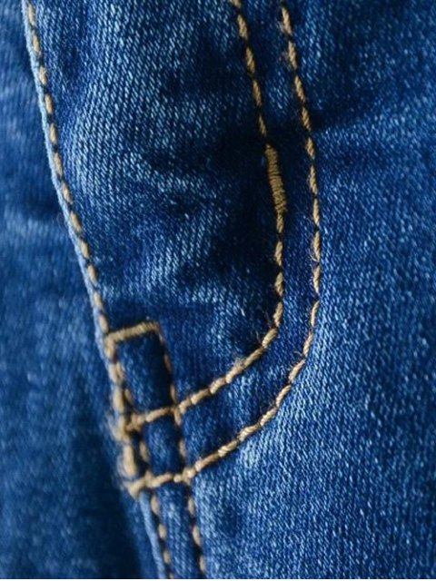 online Bleach Wash Zip Fly Denim Pants - DENIM BLUE 2XL Mobile