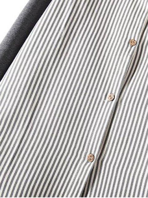 fashion Striped Knit Spliced Shirt - BLACK 2XL Mobile
