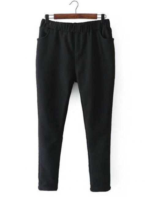 shop Casual Fleece Narrow Feet Pants - BLACK 4XL Mobile