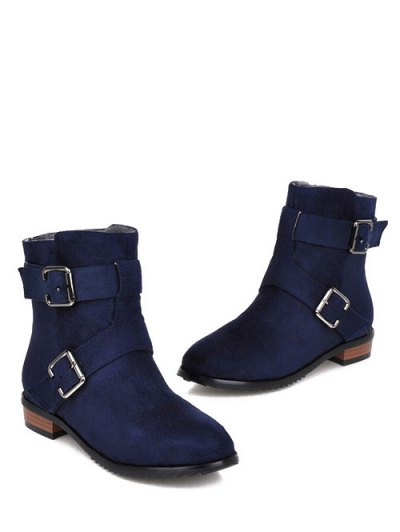 Flat Heel Round Toe Buckles Short Boots - DEEP BLUE 37 Mobile