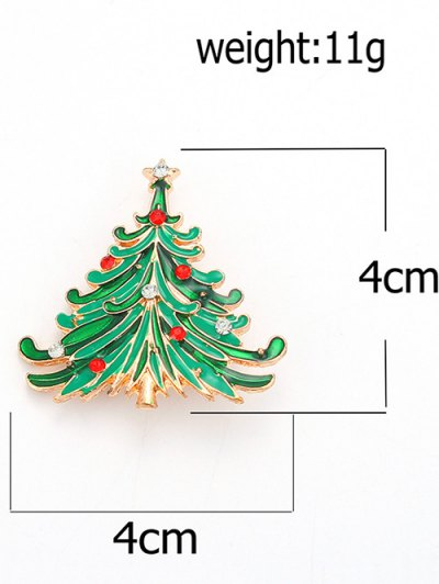 Rhinestone Christmas Tree Pentagram Brooch - GREEN  Mobile