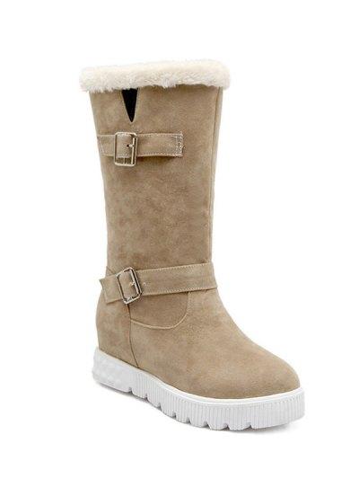 Double Buckles Platform Snow Boots - APRICOT 39 Mobile