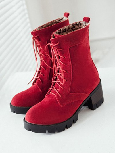 Lace-Up Chunky Heel Combat Boots - RED 38 Mobile