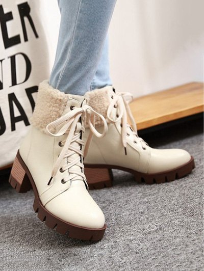 Faux Shearling Lace-Up Chunky Heel Boots - OFF-WHITE 39 Mobile