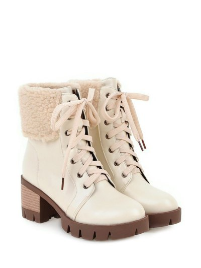 Faux Shearling Lace-Up Chunky Heel Boots - OFF-WHITE 38 Mobile