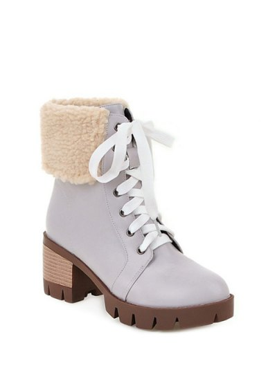 Faux Shearling Lace-Up Chunky Heel Boots - GRAY 37 Mobile