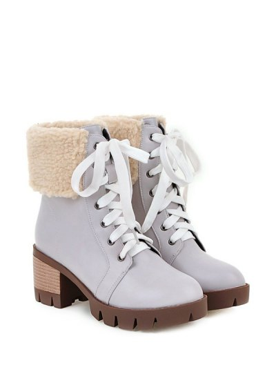 Faux Shearling Lace-Up Chunky Heel Boots - GRAY 38 Mobile