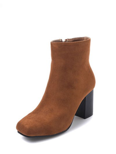 Square Toe Chunky Heel Zipper Ankle Boots - BROWN 39 Mobile