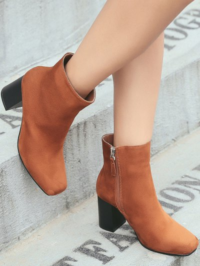 Square Toe Chunky Heel Zipper Ankle Boots - BROWN 38 Mobile