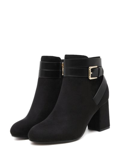 Buckle Chunky Heel Cross Straps Ankle Boots - BLACK 39 Mobile