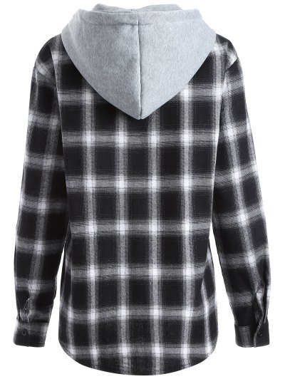 Hooded Checked Shirt - WHITE AND BLACK L Mobile
