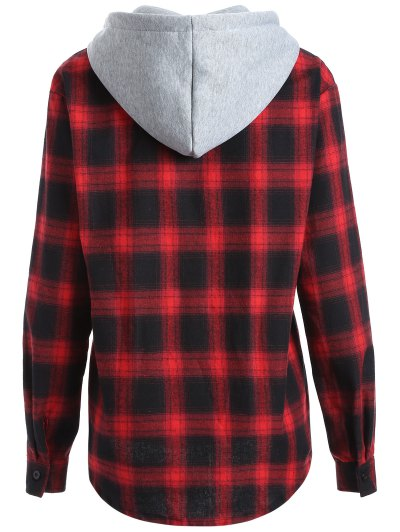 Hooded Checked Shirt - RED M Mobile