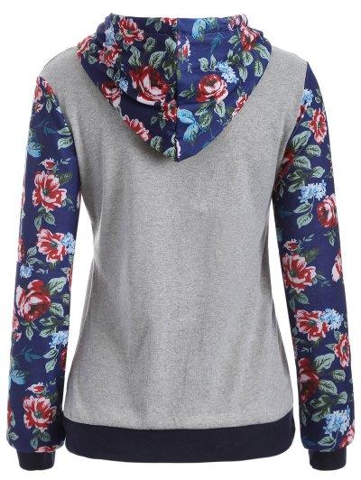 Pocket Floral Hoodie - GRAY M Mobile