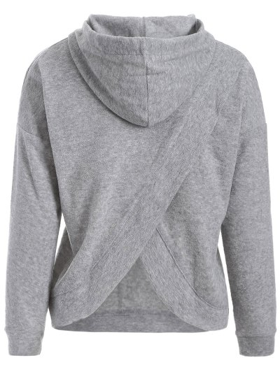 Back Slit Casual Hoodie - GRAY M Mobile