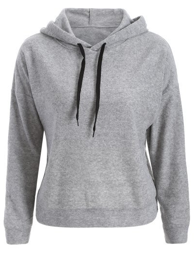 Back Slit Casual Hoodie - GRAY S Mobile