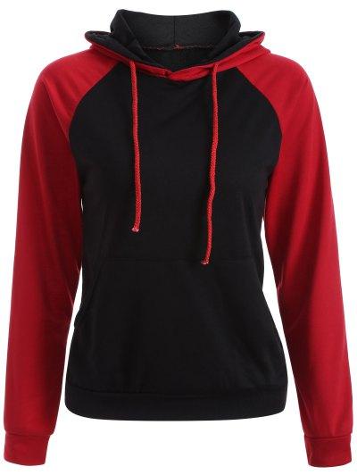 Casual Raglan Sleeve Hoodie - RED 2XL Mobile