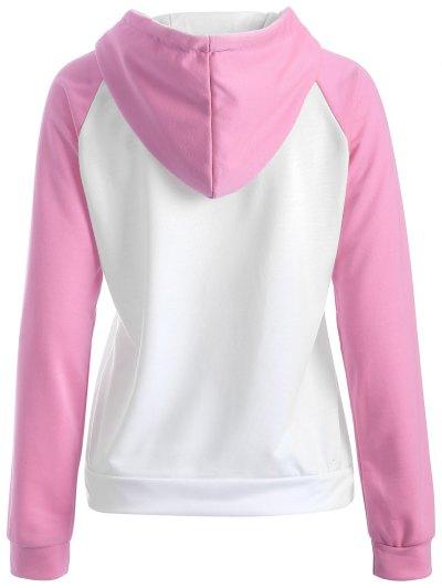 Casual Raglan Sleeve Hoodie - PINK M Mobile