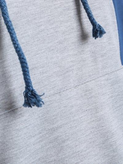 Casual Raglan Sleeve Hoodie - BLUE M Mobile