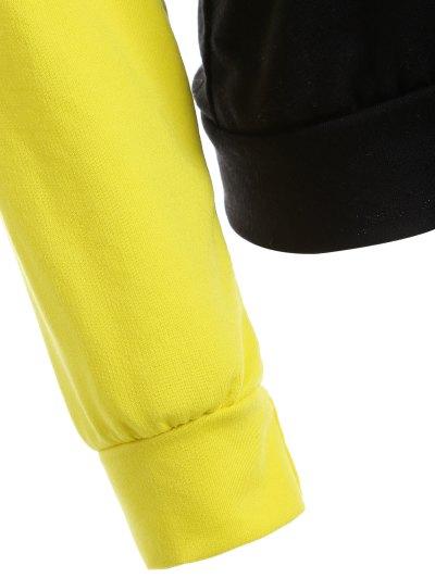 Casual Raglan Sleeve Hoodie - YELLOW L Mobile