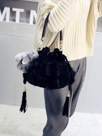 Braid Tassel Furry Bucket Bag - BLACK  Mobile