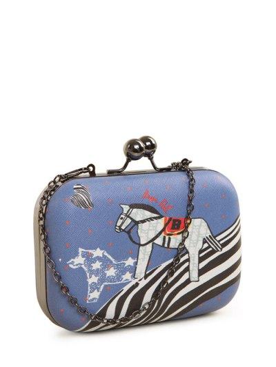 Polka Dot Cartoon Horse Print Evening Bag - BLUE  Mobile