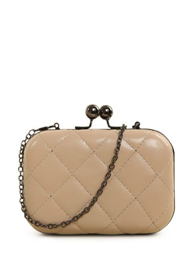 Kiss Lock Quilted Evenig Bag - NUDE  Mobile