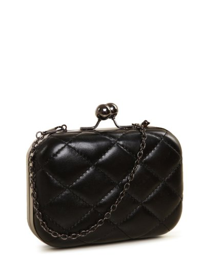 Kiss Lock Quilted Evenig Bag - BLACK  Mobile